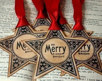 Christmas Star Gift Tags-Merry and Bright -SET of 6-Vintage Style-Ribbon Choice