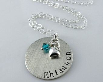 "Heart Charm Birthstone Name Necklace - 1"" Hand Stamped Sterling Silver Disc, Swarovski Crystals, Puff Heart Charm"