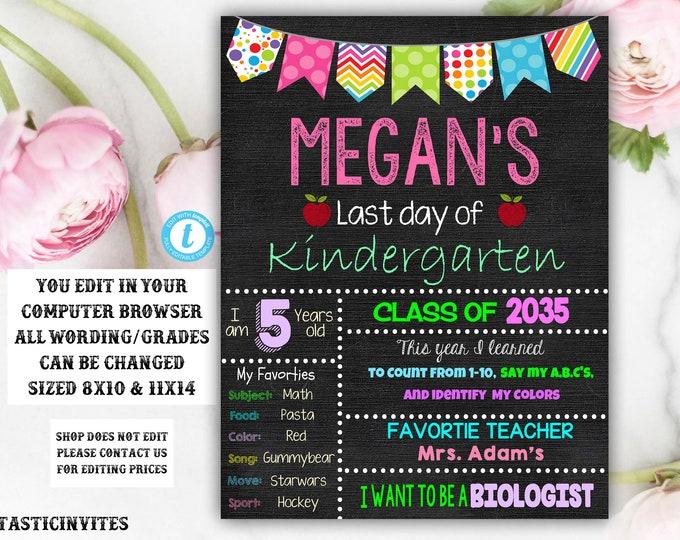 Last day of Kindergarten sign Template, Last day of school sign, Girls Kindergarten School Chalkboard poster, Last Day Template Chalkboard
