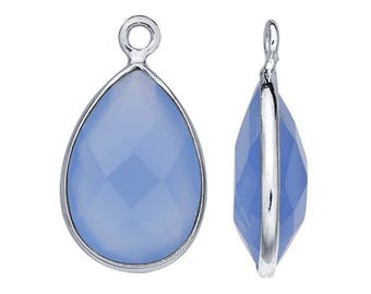 Sterling Silver Pear Checkerboard Blue Chalcedony-Set Component, choose your size