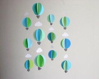 "Hot Air Balloon Mobile ""Splash"" - Modern Nursery Decor - Baby Boy Mobile - Gender Neutral Mobile - Baby Shower - Baby Boy Gift - Scandi baby"