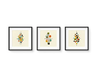 Mid Century Prints, Print Set, Mid Century Modern, Modern Print, Modern Art, Danish Modern, Art, Mid Century Art, SPECIAL LIMITED OFFER