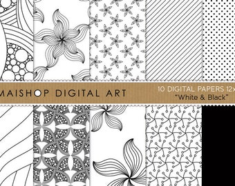 Digital Paper 'White & Black' Scrapbook Papers Abstract, Flowers, Stripes, Dots... Backgrounds for Invites, Cards, Printing, Decoupage...