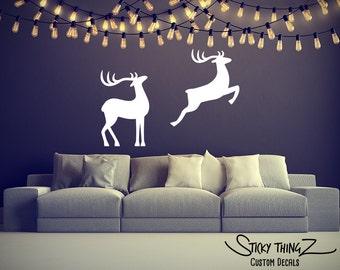 Reindeer Wall Decal, Reindeer Decal, Christmas Wall Decal, Christmas Decor, Home Decor, Christmas Party, Christmas Decoration, Reindeer