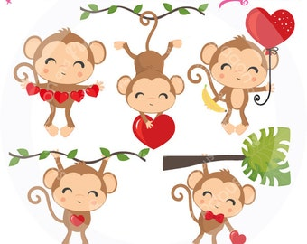 Valentine Monkey Clipart, Valentine clipart, Valentine Clip Art, Monkey clip art, cute monkey, Commercial License Included