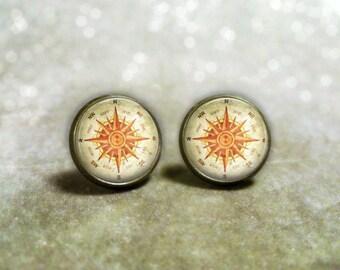 Compass Earrings : Post Earrings. North South East West. Studs. Girls Earrings. Bronze Jewelry. Handmade Jewelry. Lizabettas (1294)