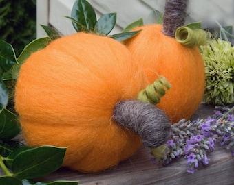 Needle Felted Pumpkins Miniature Pumpkin Two Wool  Sculptures