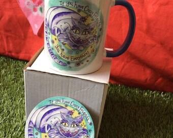 Alice in wonderland themed cheshire cat mug