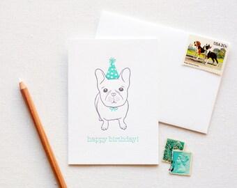 Happy Birthday French Bulldog Letterpress Card