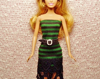 Handmade Barbie Clothes - Green & Black Striped Pencil Dress with Embroidered Lace trim and Black Glitter belt.