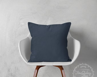 navy throw cushion cover navy blue cushion cover decorative cushion case navy linen pillow cover accent pillow farmhouse pillow SET OF 2
