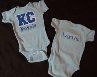 Personalized Kansas City Royals - Baby Bodysuit