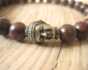 Mens Buddha Bracelet - Mahogany Obsidian Mens Bracelet with Sandalwood Mala Bead, Brass Buddha, Stone for obstacles and positive thinking
