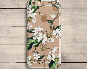 White Flowers Case iPhone SE Case iPhone 7 iPhone 7 Plus iPhone 8 X Sillicone Case Green Leaves case Samsung Galaxy S6 S7 S8 Floral Case