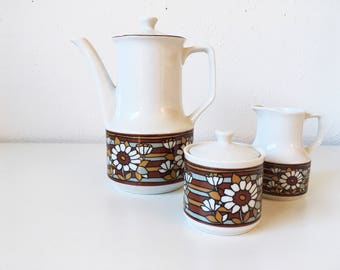 Vintage Mid Century 3-Piece Tea Serving Set + Teapot Cream Sugar + Red Gold Floral Stripes + Groovy Flower Power + Made in Japan