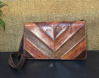 Vintage 1990's Three Tone Brown Snake Skin  And Leather Shoulder Bag Purse / Clutch / Two in One