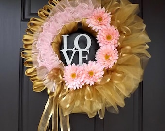 "Beautiful 22"" Handmade Unique Spring Wreath - Golden Love - Great Mother's Day Gift!"