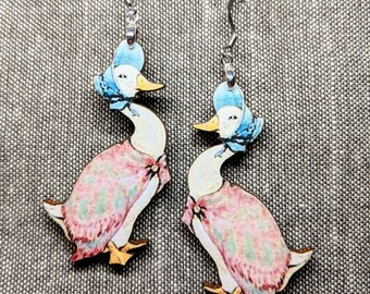 Duck Earrings / Handmade Wood Earrings / Stainless Steel / Handmade Jewelry / Ugly Duckling / Mother Goose Earrings / Animal Earrings