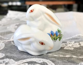 Herend Bunnies Hungarian Porcelain Bunny Rabbit Figurine Easter Gift