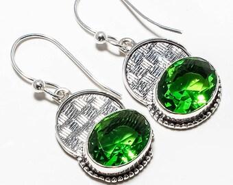 "Green Peridot Gemstone Handmade Jewelry Earrings 1.76"""