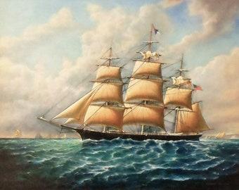 Clipper Ship, Oil Painting, Tall Ships, Ocean Sailing Ships
