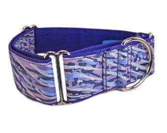 "Knine Couture's Martingale Dog Collar - 1.5"" Width Size Med (14""-18"") Dog Collar, Purple Rain Batik Print, Nickel Hardware"