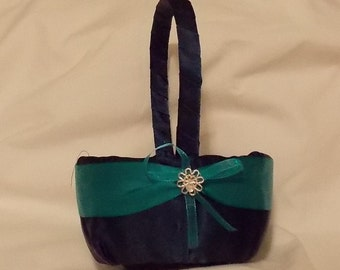 wedding flower girl basket black dark teal color custom made