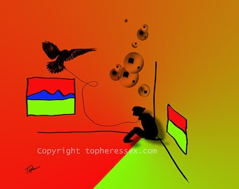 """Limited Edition Print.  """" Toys In My Attic #12 """" Digital painting, Wall art, Painting. Art print"""