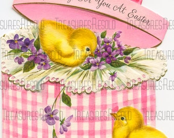 Retro Chicks In A Hat Box Easter Card #657 Digital Download