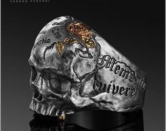 Biker Ring Skull Silver Men Ring Vanitas Memento mori by SANDRO VERARDI /R015