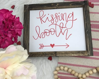 Wood Framed Canvas Kissing Booth Sign