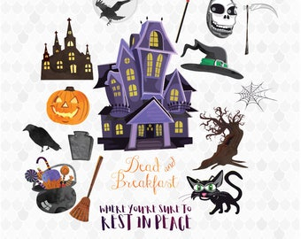 Watercolor Halloween, Halloween Clipart, Watercolor Clipart, Dead and Breakfast, Haunted House, Halloween Elements, Decal for Shops
