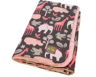 Pink Zoology on Paris Pink Minky, Baby Blanket