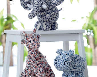 Giraffe, Hippo & Elephant Knitting Pattern