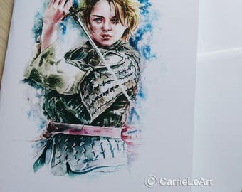 Game of Thrones Card.GOT Fan Art.Arya Stark.Game of Thrones Birthday Card.Game of Thrones Gift.Arya Stark Fan Art.GOT Card.Arya Stark Card