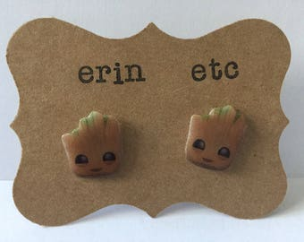 Handmade Plastic Fandom Earrings - Movie - Groot