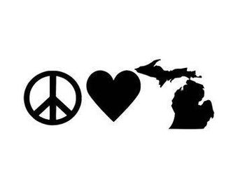 Peace Love Michigan Vinyl Car Decal Bumper Window Sticker Any Color Multiple Sizes Custom Jenuine Crafts