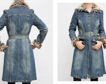 f7b9b79bfa ... promo code 44ec7 7f6ef Vintage Denim Belted Jacket 90s Vintage Long  Sleeve Maxi Washed Denim Button  buy popular f9dd0 fc2b7 Rainbow coat ...