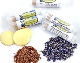 Lip Balm Lavender Cocoa Vanilla with Bulgarian Lavender Essential Oil Moisturizing Indulgent