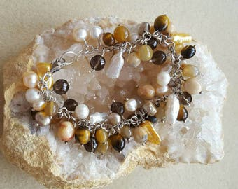 Shades of Toffee Sterling Silver Gemstone Charm Bracelet