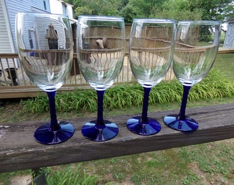 Cobalt Blue Stemware, Set Of 4 Wine Glasses, Clear Bowl, Blue Stems And Base, 7 1/2 Inches Tall, 2 1/4 Inch Opening, Twisted Stem, Deep Blue