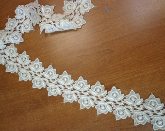 "Lovely 1 3/4"" Wide Rayon Venise Lace Trim in Cream (1 yd)"