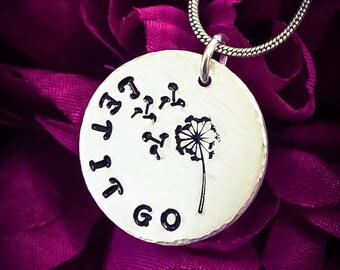 Let It Go Dandelion & Fluff Hand Stamped Necklace. Let It Go Necklace, Dandelion Necklace, Dandelion Jewellery, Inspirational Necklace