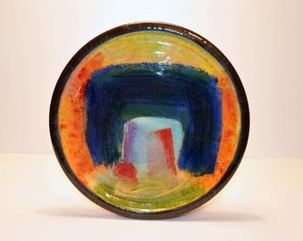 Hand thrown painted plate 120cm.