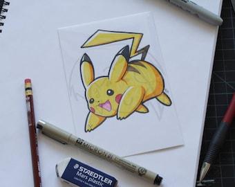 Pokemon Pikachu 4x6 marker drawing