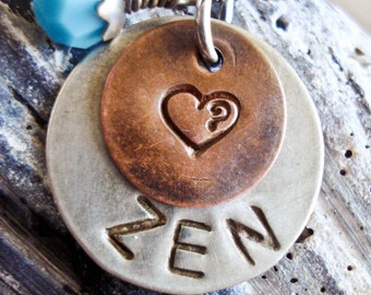 Hand Stamped Name Necklace with Heart - Custom Birthstone Charm - Two Discs Personalized Mommy Mother Pendant