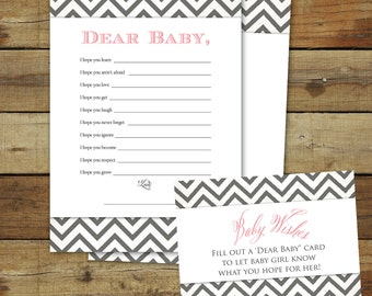 Baby wishes, Printable baby shower game, dear baby instant download, Wishes for Baby, pink & gray chevron