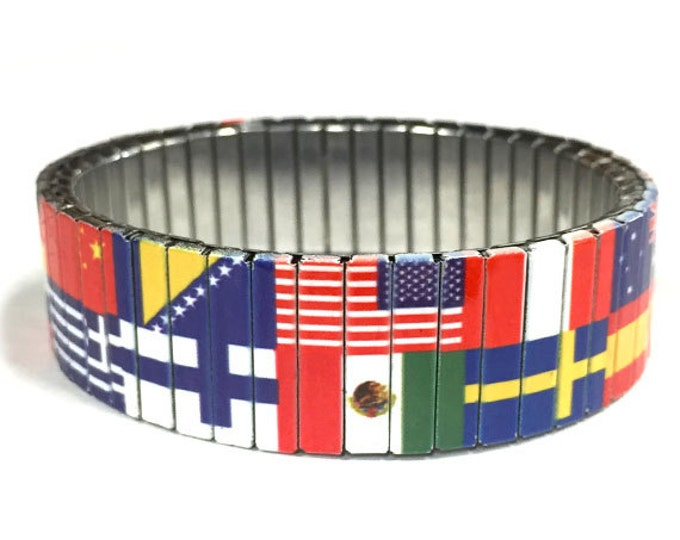 Bracelet WORLD FLAGS, Patriotic, Stainless Steel, Repurpose Watch Band, Stretch Bracelet, Wrist Band, Sublimation, gift for friends
