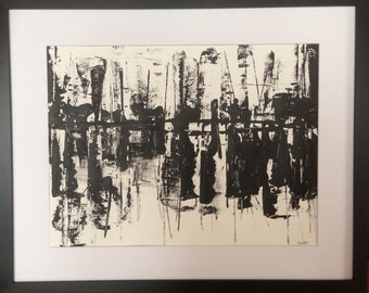 Original abstract art 24X18 inches on heavy art paper, titled HARBOR NIGHTS