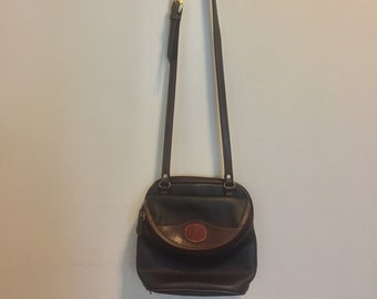 Vintage 1990s Brown Multi Leather AZ Wallet Crossbody Purse